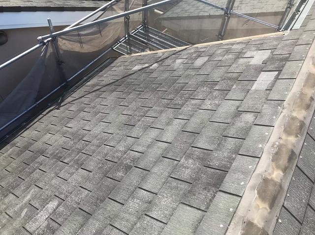 天理市でスレートの棟瓦を撤去