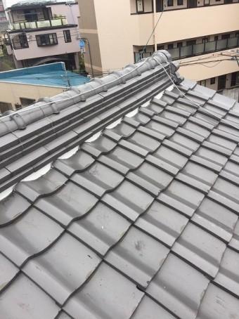 葛城市で大屋根の漆喰詰め替え作業完了