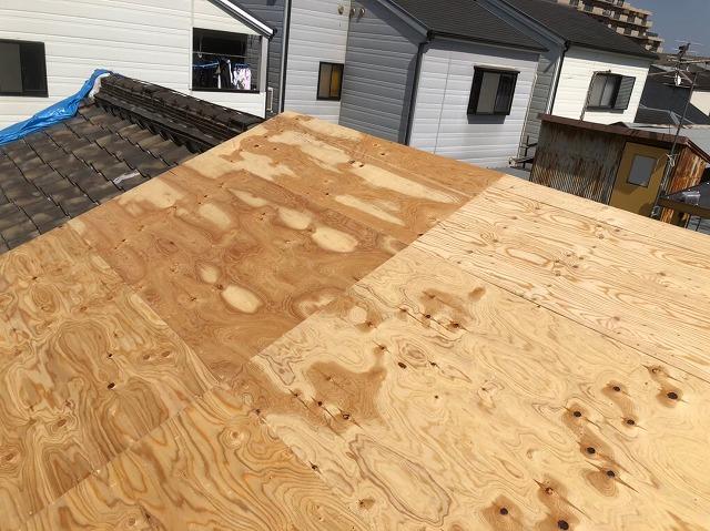 奈良市の屋根葺き替え工事の野地板