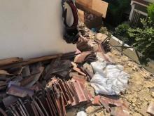 下屋根の瓦撤去土嚢袋