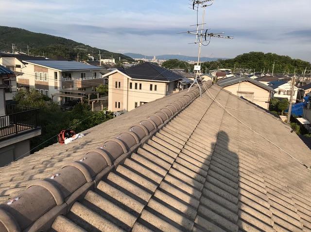 桜井市 モニエル瓦屋根 棟瓦完成