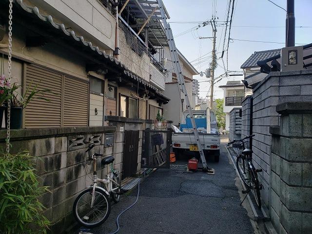 大阪市内の漆喰詰め直し工事完成、後片付け