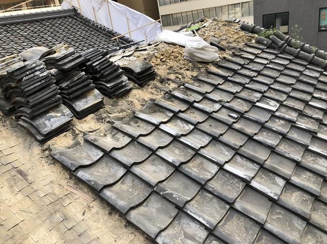 奈良市の瓦屋根の桟瓦撤去