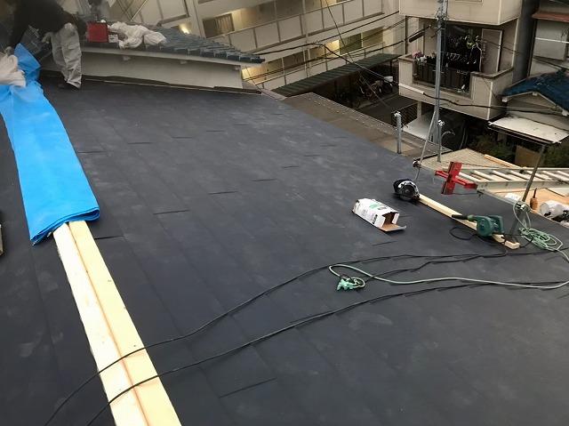 奈良市で屋根葺き替え、大棟に貫板設置