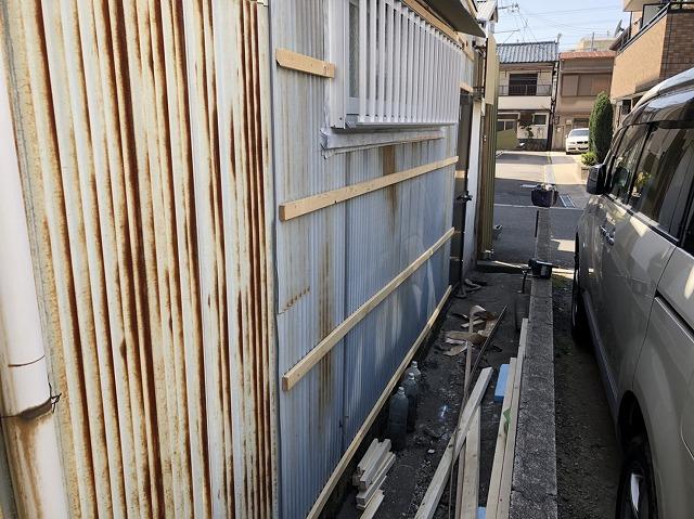 斑鳩町 トタン外壁 胴縁設置