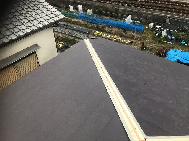 ガルテクト設置と棟板金