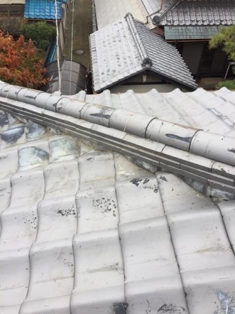 香芝市 崩れたいぶし瓦の棟 施工後