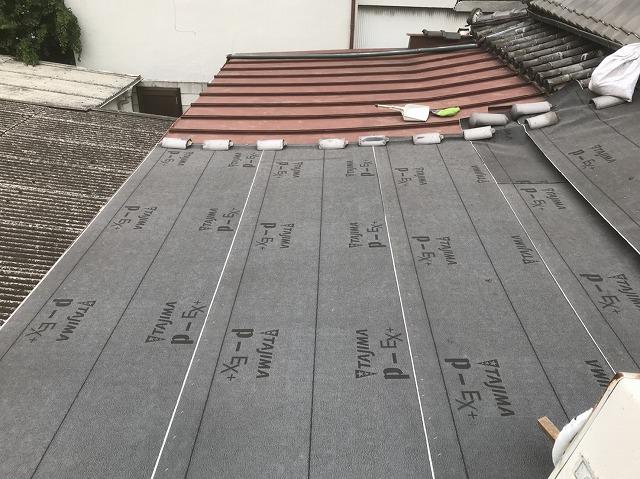 三宅町 防水シート設置 葺き替え工事