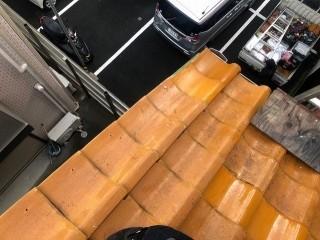 桜井市 オレンジ釉薬瓦 補修後