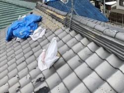 橿原市の和瓦屋根の崩れた棟