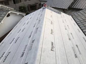 奈良市でルーフィング(防水紙)の張り付け