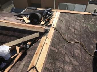 原本町で貫板を設置したカラーベスト大屋根