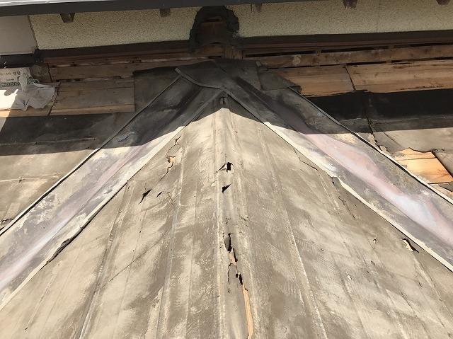 下屋根 屋根材撤去