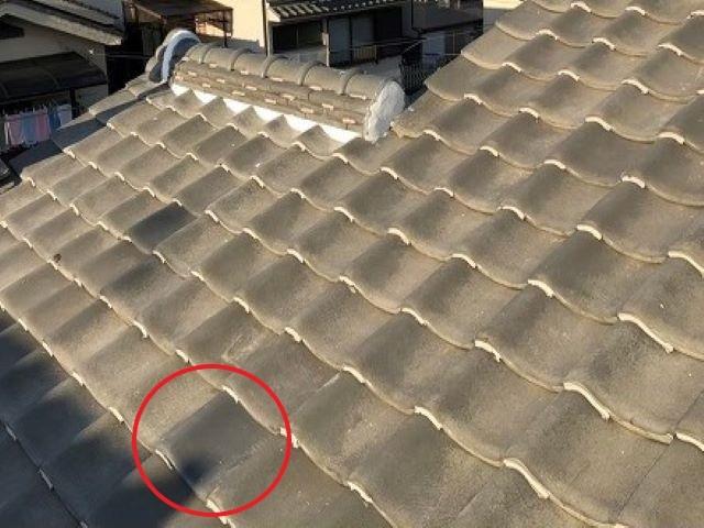 橿原市の大屋根のひび割れた瓦補修後