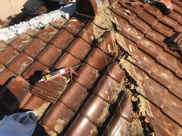 棟瓦解体後の取り合い部分