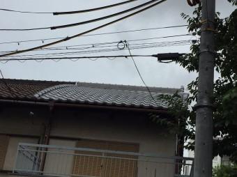 奈良市の長屋の葺き替え工事が完了した様子