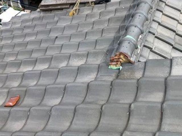 橿原市の瓦屋根の無料点検、大屋根の大棟