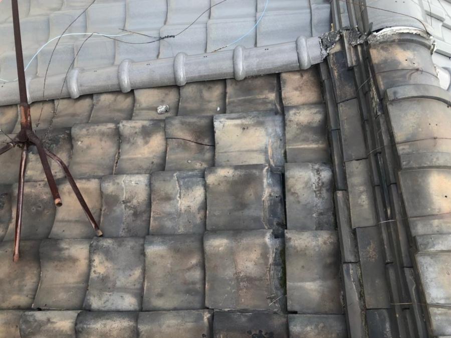 奈良市 粘土瓦 パラペット付き 屋根修理の安心無料点検