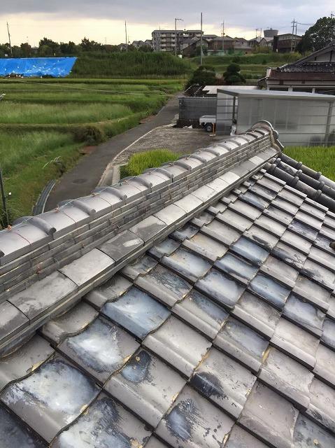 生駒市の台風被害の冠瓦の補修完成