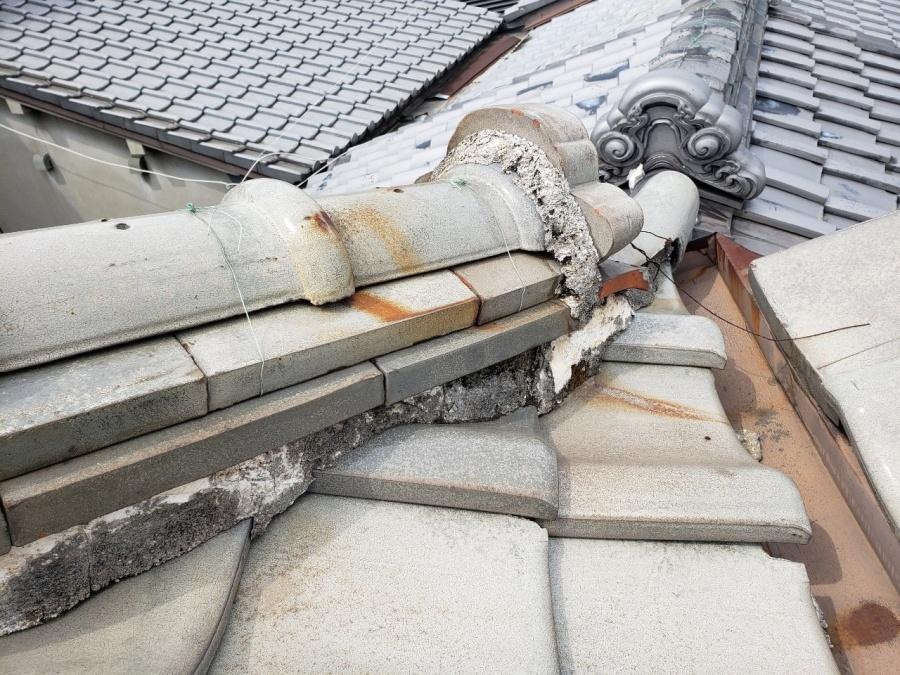 大阪市内の住宅の工事前の漆喰の様子