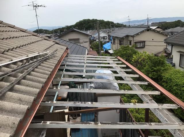 桜井市 モニエル瓦屋根 ベランダ波板交換