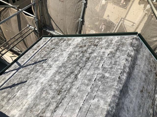 天理市で防水紙を設置した屋根