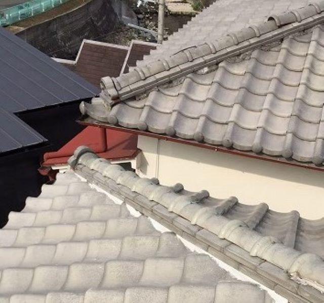 奈良市の棟瓦の漆喰詰め直し
