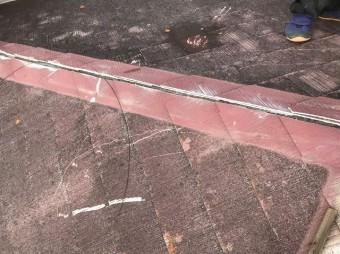 田原本町で棟板金を撤去したカラーベスト大屋根