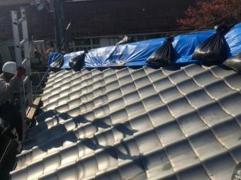 奈良市 応急処置済の瓦屋根