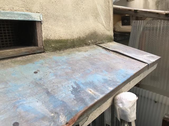 河合町の庇板金の錆び