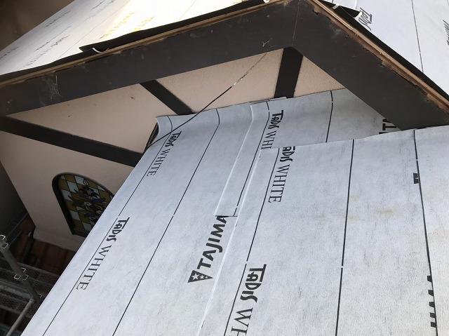 斑鳩町でルーフィングで雨水防止対策