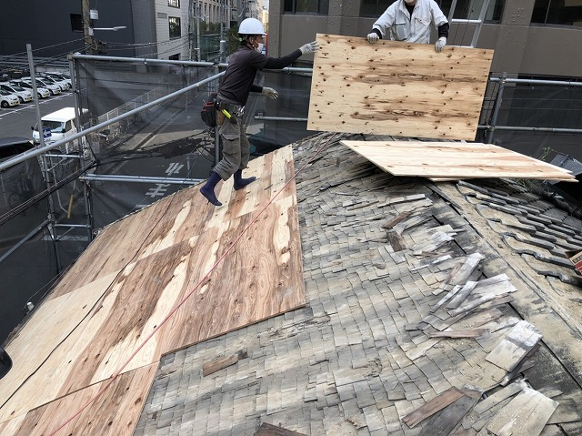奈良市の瓦屋根の新しい野地板