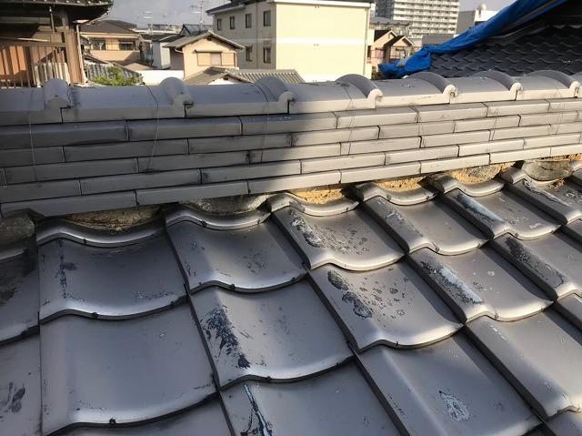 奈良市の瓦屋根の漆喰の詰め増しで屋根修理