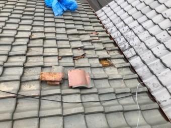 天理市 釉薬瓦屋根 施工前