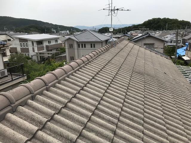 桜井市 モニエル瓦屋根 棟瓦施工前