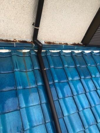 香芝市 青色釉薬瓦屋根 雨樋交換 施工後