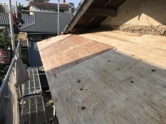 補強垂木の上から構造用合板を増し張り