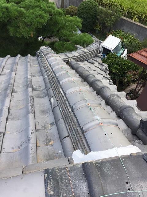 生駒市の台風被害の風切丸の補修後