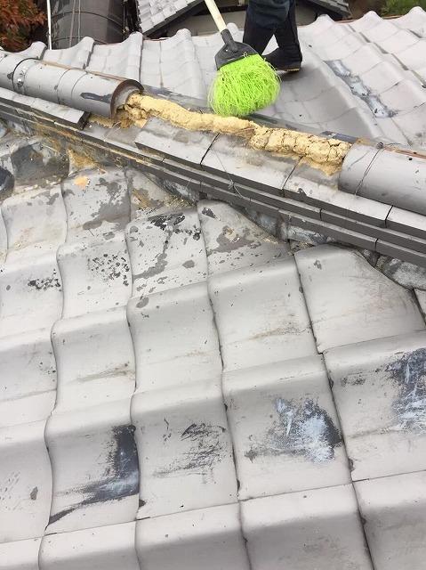 香芝市 崩れたいぶし瓦の棟