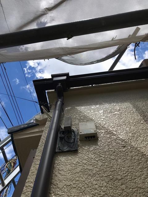 五條市のガルテクト屋根に雨樋設置