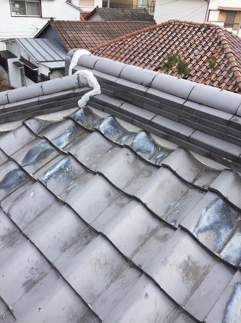 奈良市の瓦屋根の大棟の施工後