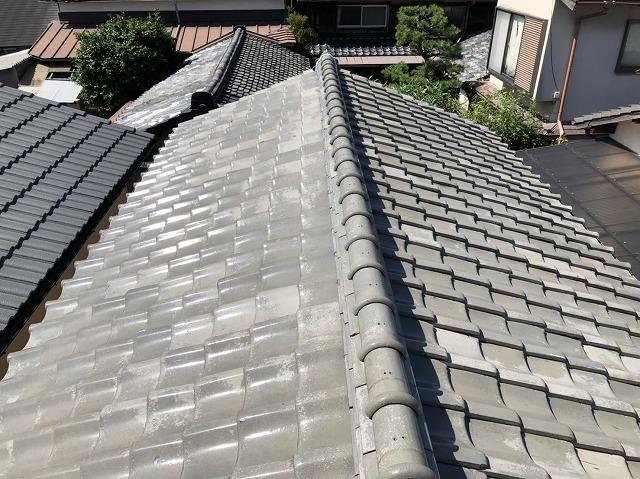 田原本町のいぶし瓦屋根の棟瓦の雨漏り