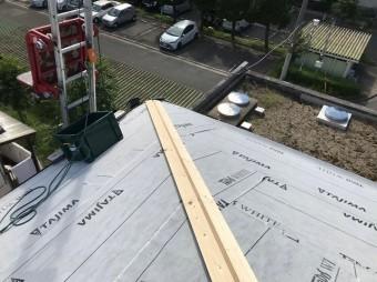 野地板の上に防水紙設置隅棟