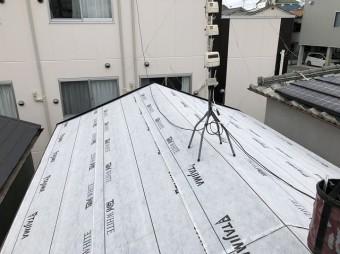 橿原市 セメント瓦屋根 防水紙貼り
