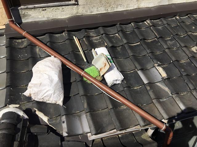 下屋根部分を清掃