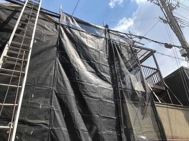 奈良市の屋根葺き替え工事足場