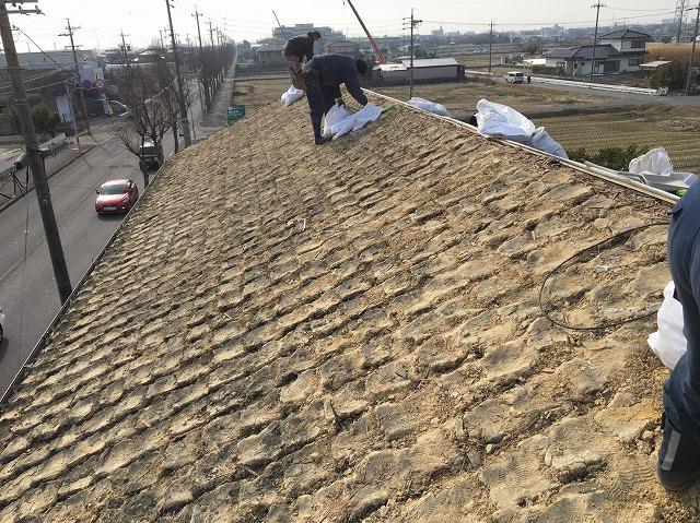 香芝市の和瓦屋根の片面撤去(湿式工法)