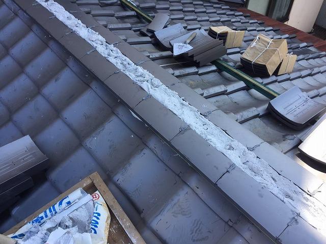 瓦の取り直し工事と漆喰