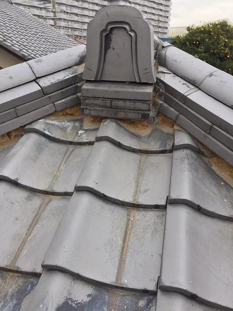 奈良市の瓦屋根の大棟の鬼瓦