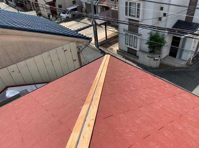 隅棟の棟板金の貫板